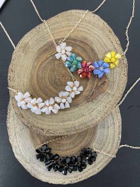 Always There Short Gold Necklace With Crystal Bead Flowers In Multiple Colors