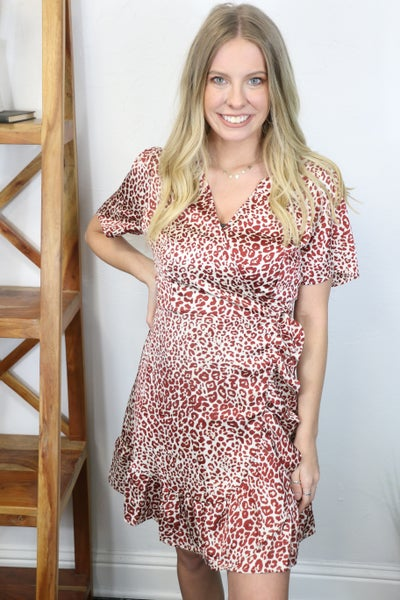 Once in a Lifetime Leopard Wrap Dress in Multiple Colors - Sizes 12-20