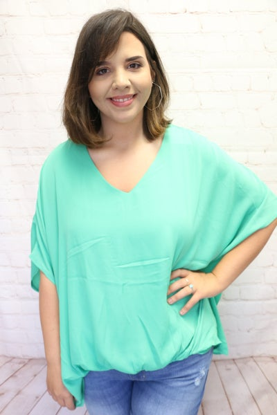 Fool for You Short Sleeve Dolman with Gathered Front in Multiple Colors - Sizes 4-18