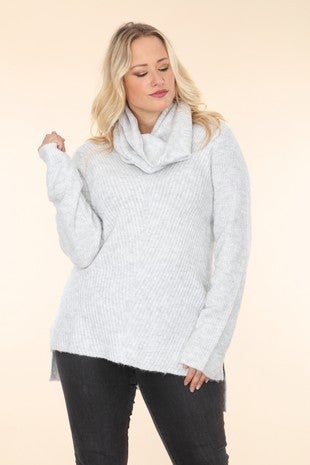 You're My Favorite Light Grey Knitted Long Sleeve Top with Scarf - Sizes 10-18