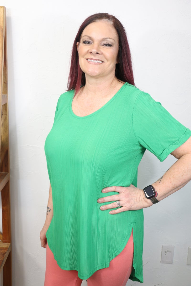 Waiting for You High Low Tunic with Rolled Sleeve in Multiple Colors - Sizes 12-20