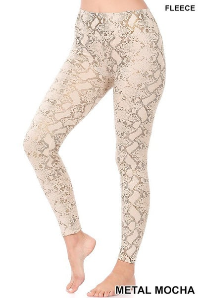 Something To See Snakeskin Fleece Leggings in Multiple Colors -