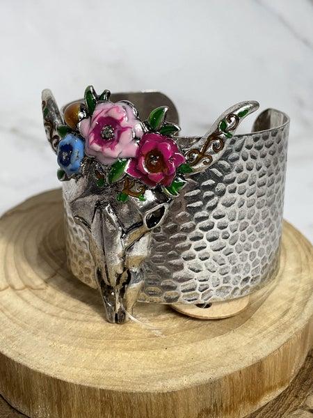 Floral Wreath Burnished Silver Steer Head Cuff Bracelet