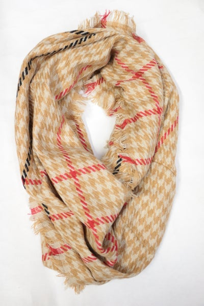 Tis The Season Houndstooth Infinity Scarf In Tan