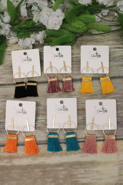 Come This Way Gold Circle Earrings With Fringe in Multiple Colors