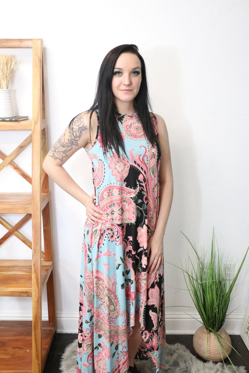 Find Love Where You Are Floral Paisley High Low Sleeveless Dress - Sizes 4-10