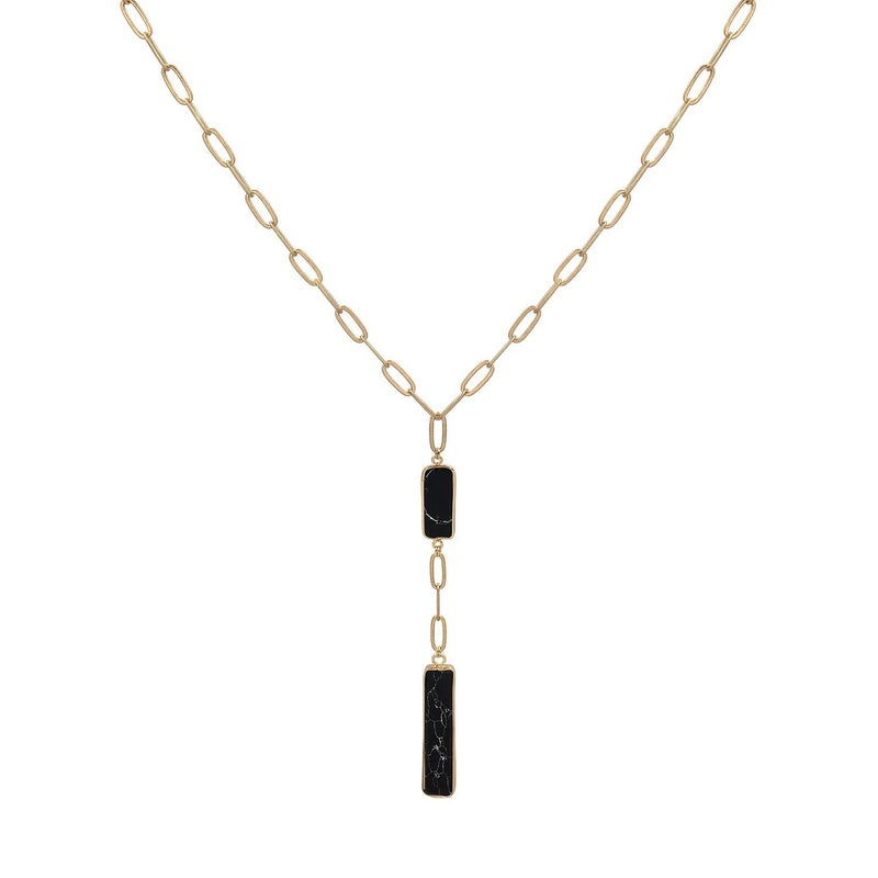 All Together Now Gold Link Necklace With Marbled Stone Accent In Multiple Colors