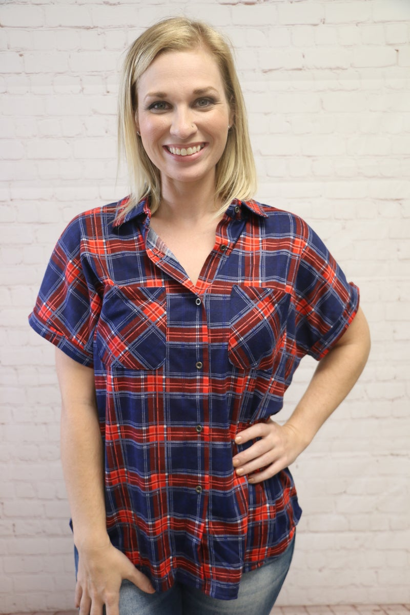 Keeping Secrets Plaid Button Up Top in Multiple Colors - Sizes 4-20