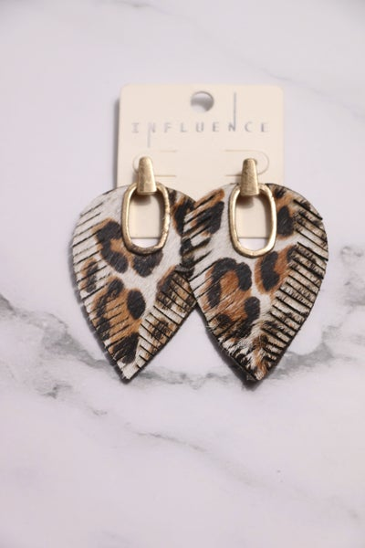 Here's To You Leopard Print Leather Feather Earring With Gold Metal Cutout In Multiple Colors