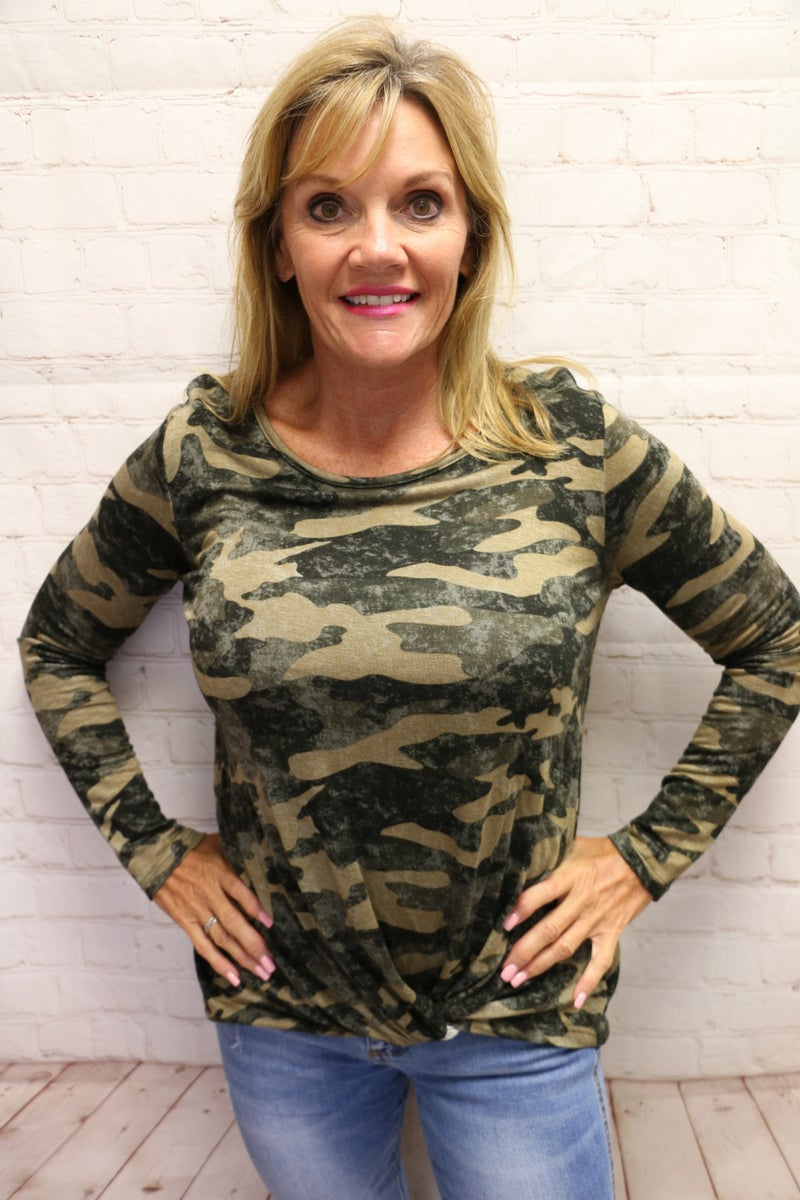 Come Find Me Olive Camo Long Sleeve Top with Knotted Hem - Sizes 4-20