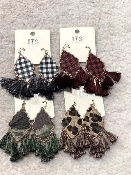 Fearless Moroccan Shape With Tassel Earring In Multiple Colors