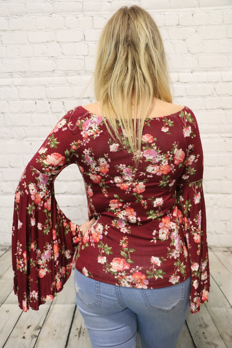 Whose All Coming Floral Boat Neck Bell Sleeve Top In Wine - Sizes 4-10