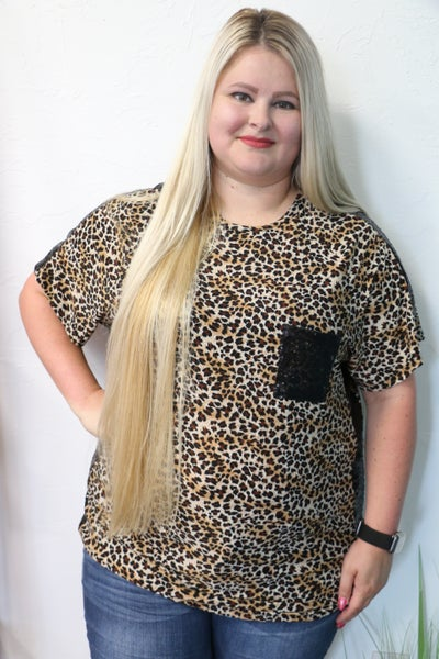 This Is The Day Leopard Top with Sequin Pocket in Multiple Colors - Sizes 4-20