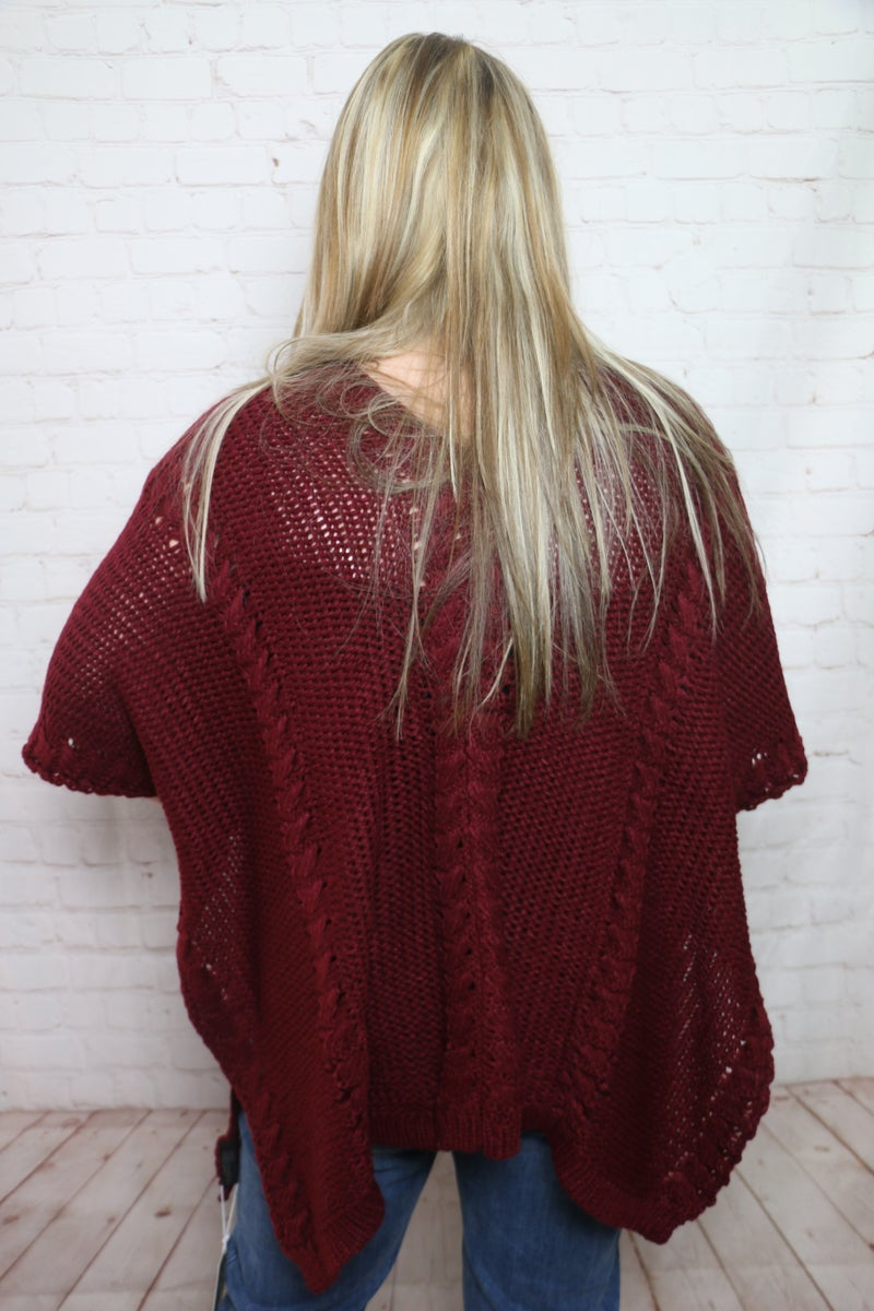 Out with a Bang Wine Cable Knit V-Neck Poncho - One Size Fits Most