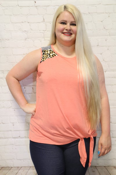 You Can See Me Comin' Leopard & Stripe Tank in Coral ~ Sizes 4-20