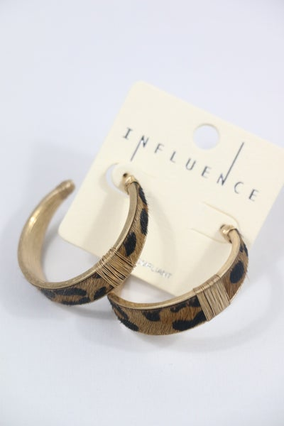 Time To Go Leopard Ponyhair Hoop With Gold Wire Detail
