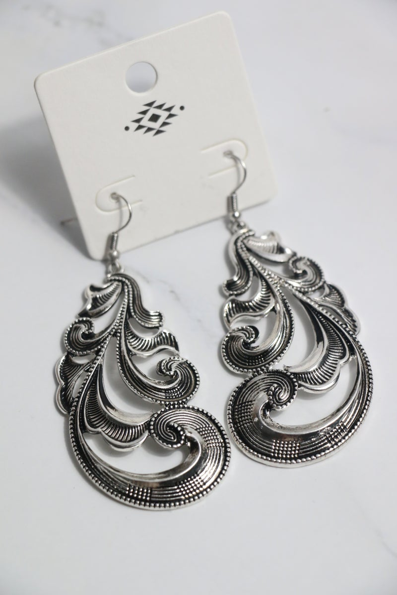 Amazing Large Silver Swirl Earring
