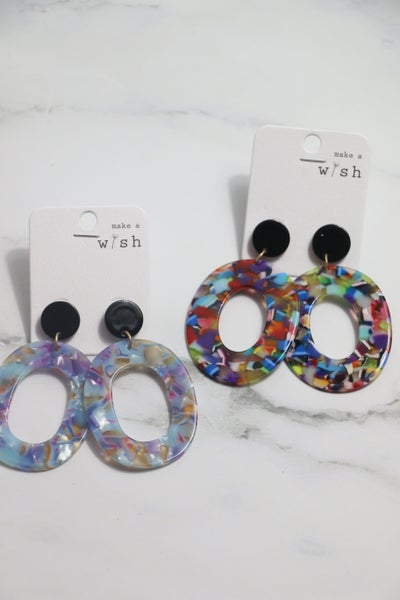 Total Control Large Open Oval Acetate Earring In Multiple Colors