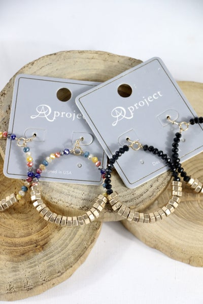 Ray Of Hope Gold Bead And Crystal Hoop Earring In Multiple Colors