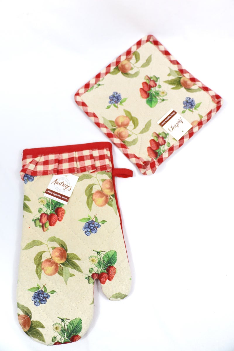 Fruit Of The Spirit 2 Piece Oven Mitt And Potholder Set With Red And White Gingham And Fruit Pattern
