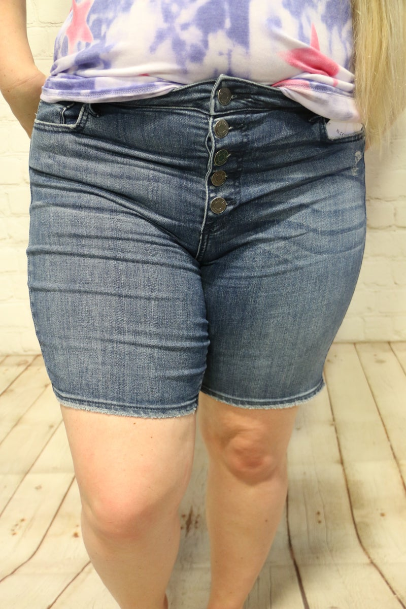 The Way It Is High Rise Exposed 4 Button Fly Bermuda ~ Sizes 12-20