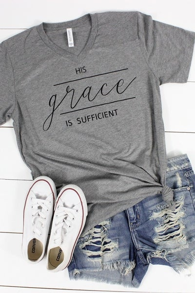 His Grace is Sufficient Gray Short Sleeve Graphic Tee ***PREORDER*** - Sizes 4-12