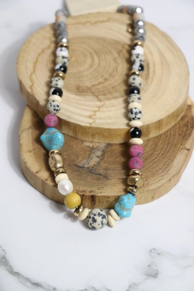 Day To Night Natural Stone And Turquoise Beaded Necklace