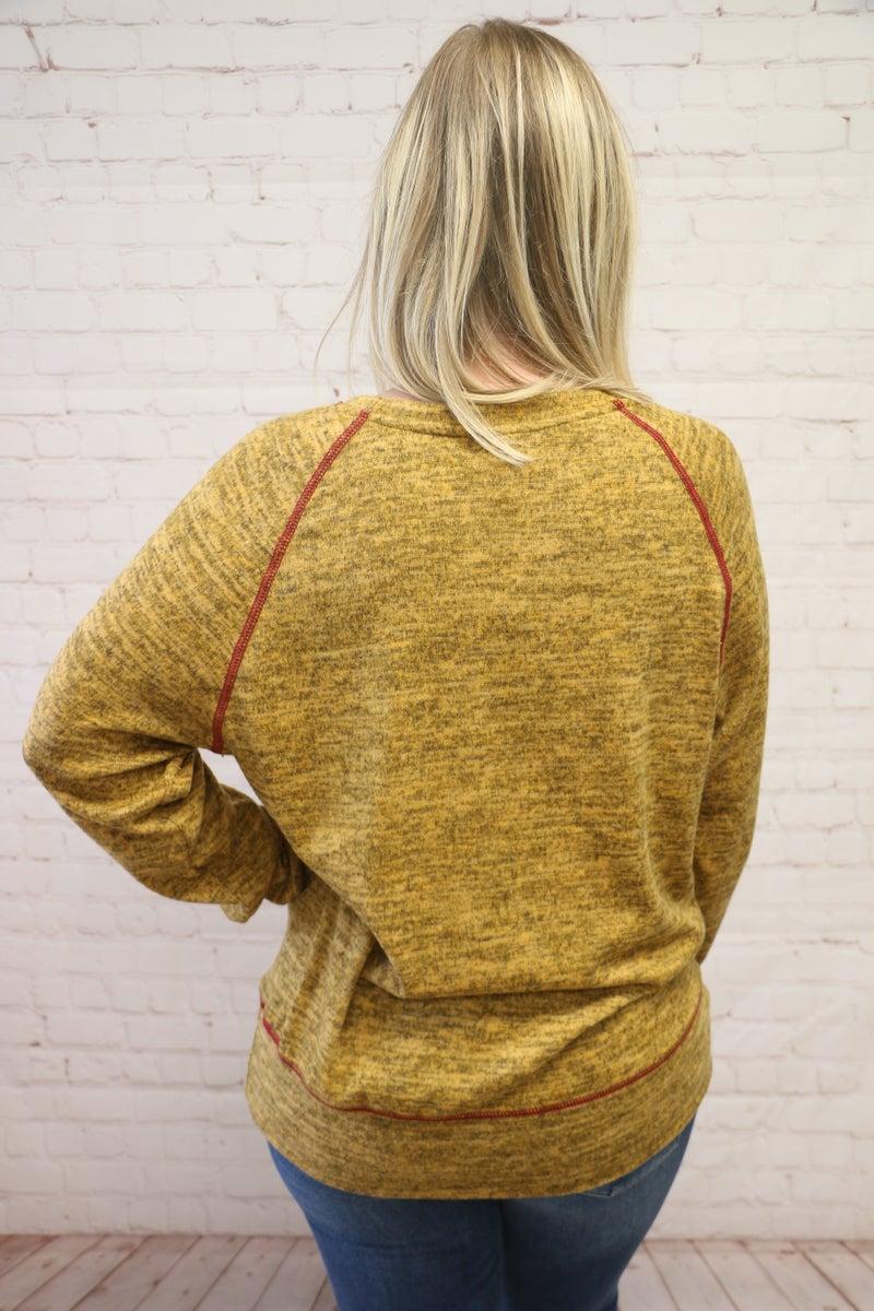 Falling Around Me Heathered Mustard Long Sleeve Top - Sizes 4-12