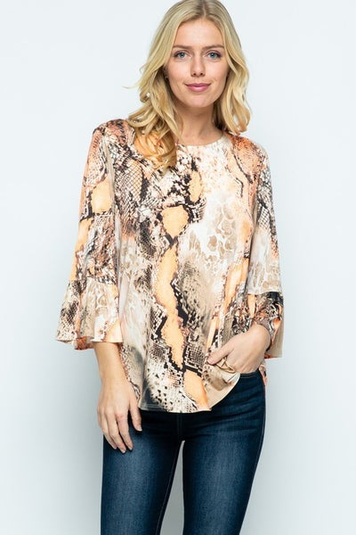 Shining Bright Snakeskin Ruffle Sleeve Top With Orange Accents- Sizes 12-20