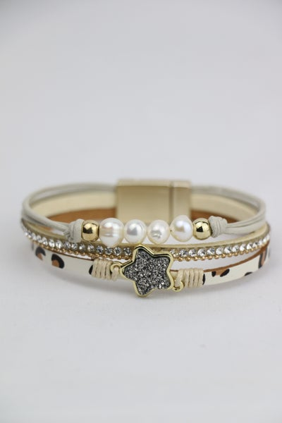 Star Power Beaded And Leopard Leather Magnetic Clasp Bracelet With Druzy Star And Pearl Detail