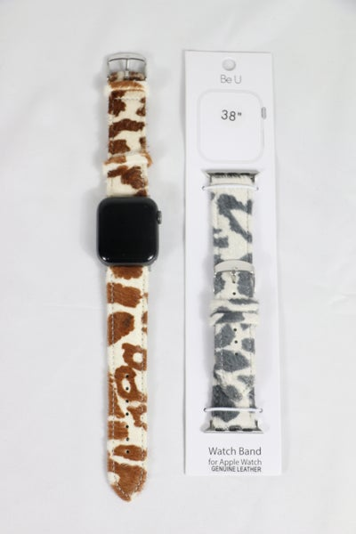 Ponderosa Genuine Leather Cow Print Apple Watch Band In Multiple Colors - 38/40mm
