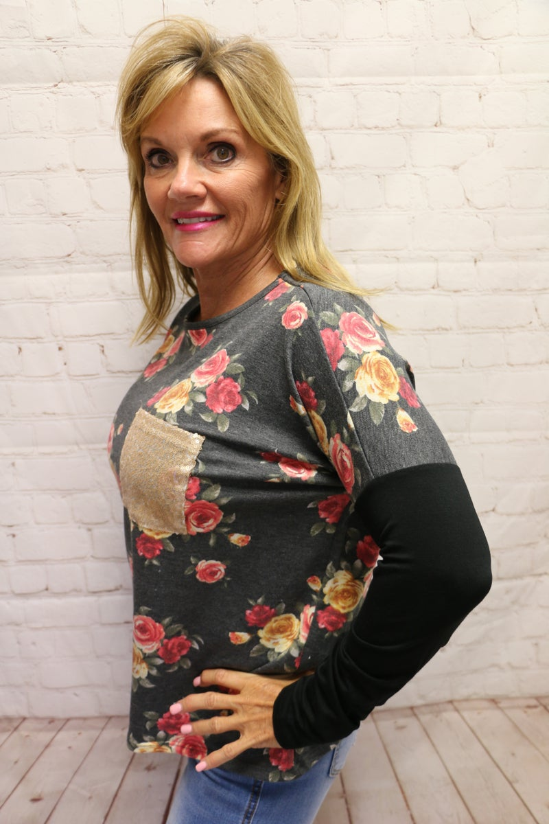 Don't Miss a Moment Charcoal Floral Top with Black accent Sleeve and Rose Gold Sequin Pocket - Sizes 4-20