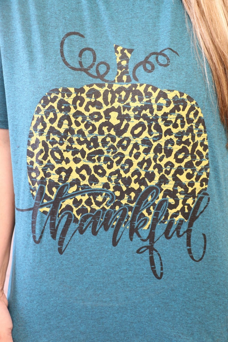 Thankful Distressed Leopard Pumpkin Graphic Tee In Heathered Teal - Sizes 4-18