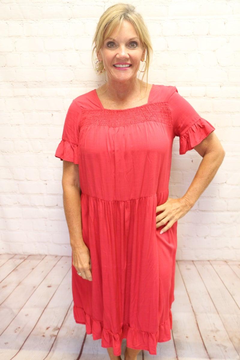 Burnin' Up Red Ruffle Swing Dress- Sizes 4-12