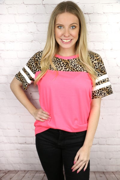 Walk in the Jungle Solid Body Baseball Tee with Leopard Accent Sleeve in Multiple Colors - Sizes 4-20
