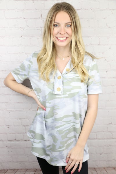 Meet Me In The Middle Camo Button Top In Gray And Sage Sizes 4-10