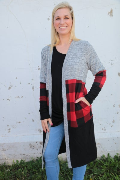 Always & Forever Buffalo Plaid Color Block Cardigan - Sizes 4-20