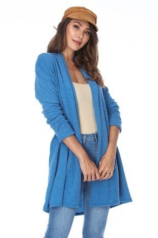 Make a Move Blue Solid Knit Jacket - Sizes 4-10