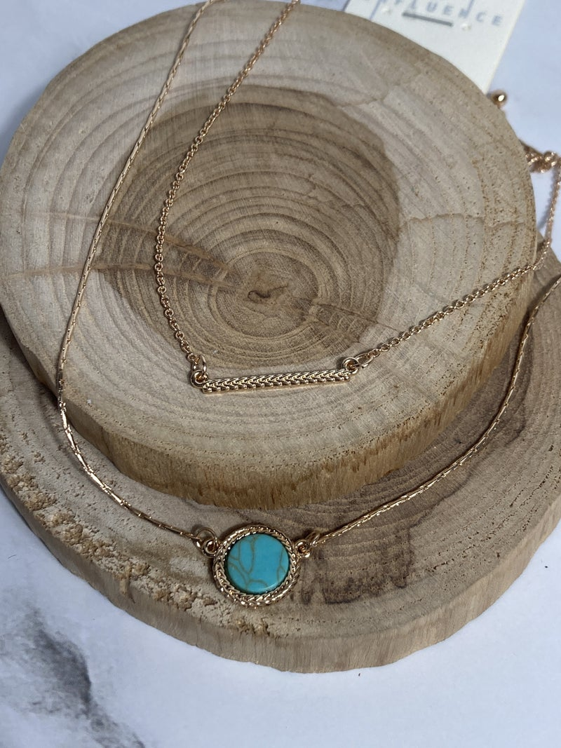 A Better Way 2 Strand Gold Necklace With Gold Bar And Circle Pendant In Multiple Colors
