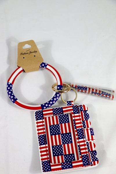 Born In The USA Flag Wristlet Wallet Keychain With Tassel