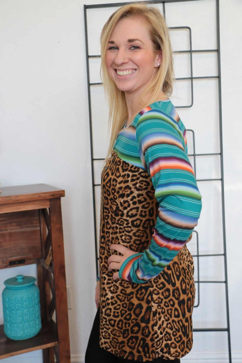 Who Is It Serape And Leopard Top Long Sleeve Top- Sizes 4-20
