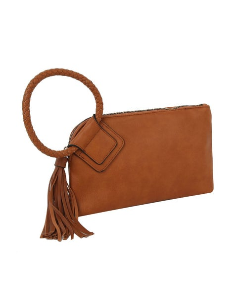 Don't Forget Clutch/Wristlet Bag With Braided Loop Handle And Long Tassel In Multiple Colors