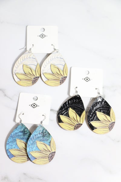 Anything At All Leather Teardrop Earring With Half Sunflower Design In Multiple Colors