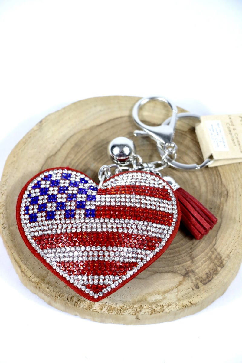 In My Heart Sparkly Flag Heart Key/Purse Charm