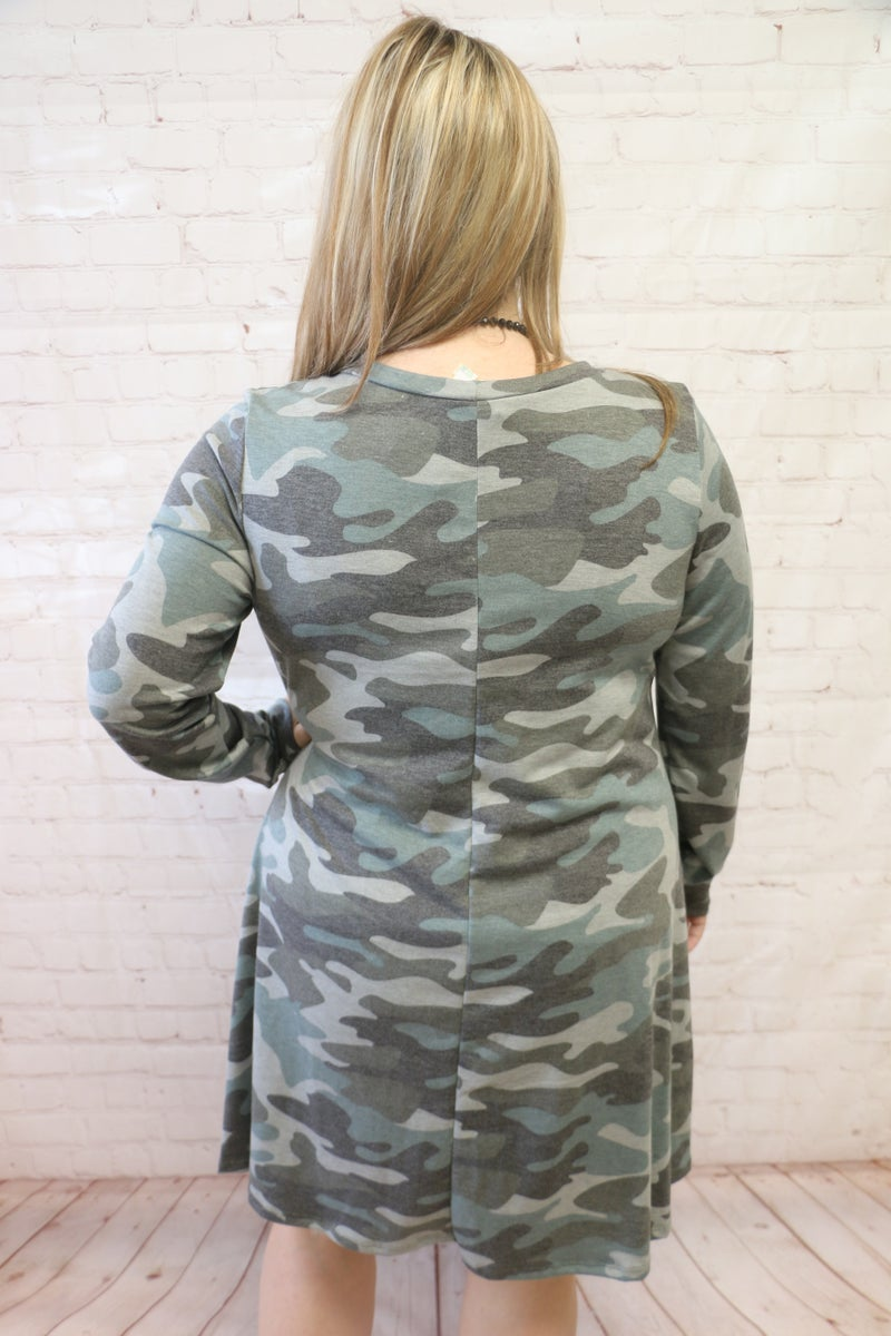 Out Of Time Camo Dress= Sizes 12-20