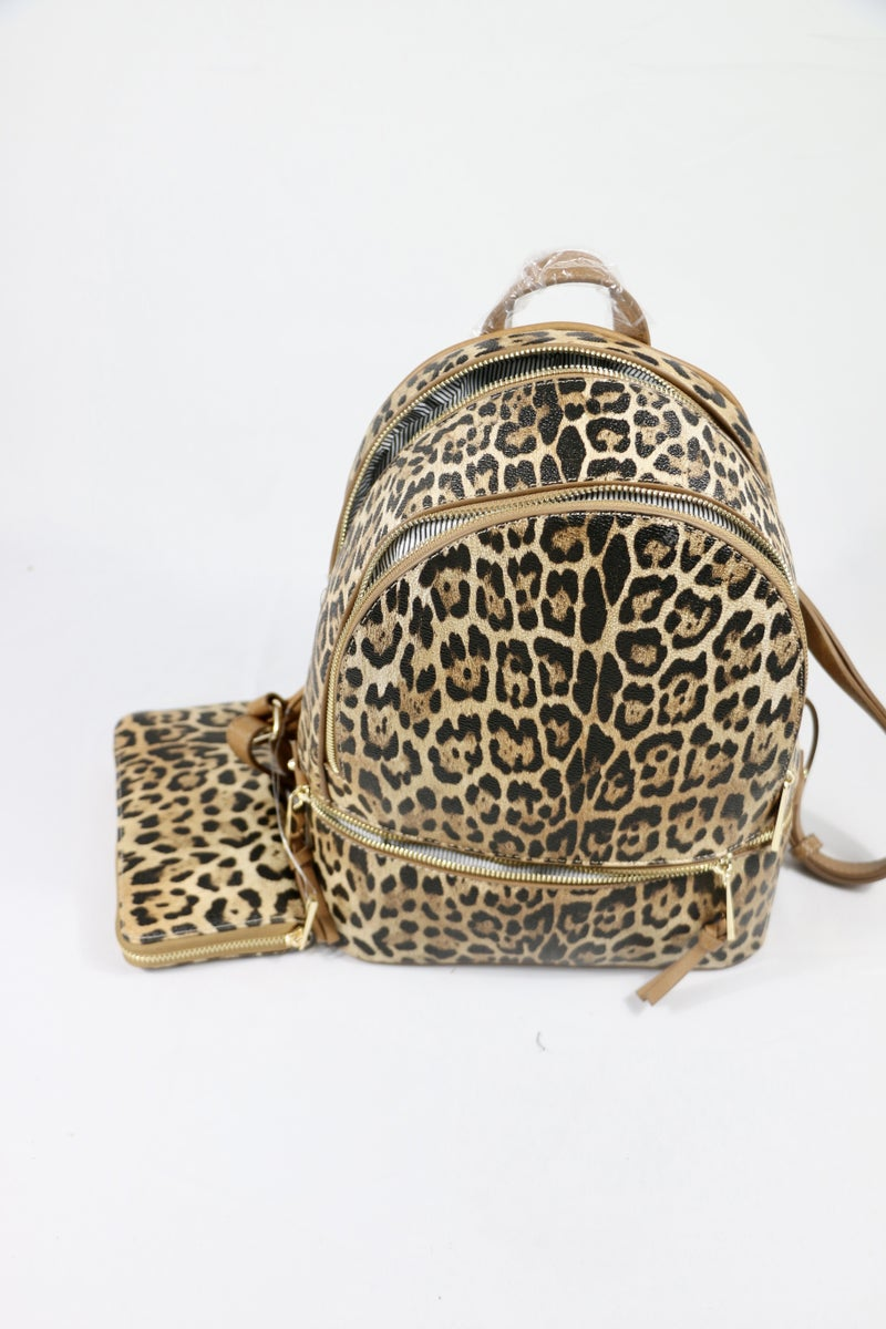 On The Loose Leopard Backpack and Wallet Combo