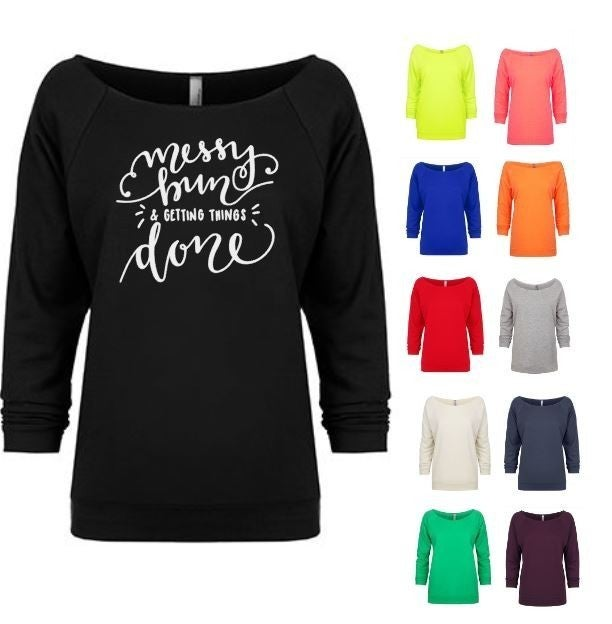 Messy Bun & Getting Things Done Black Off the Shoulder Shirt - Sizes 4-12