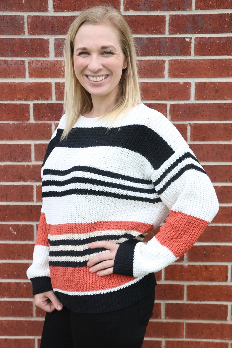 Straight To You Oversized Striped Sweater - Sizes 4-20