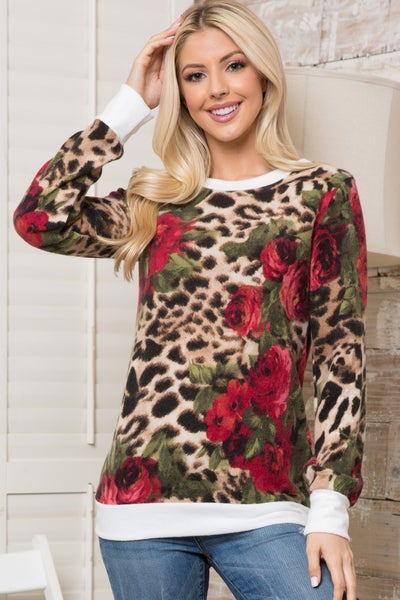 Wait for Me Leopard and Rose Super Soft Sweater - Sizes 12-20