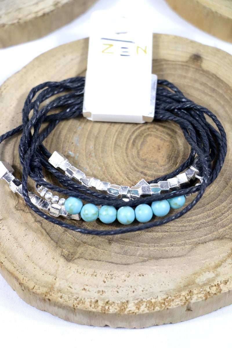 All Is Right 7 Strand Leather Silver Bead And Turquoise Magnetic Clasp Bracelet